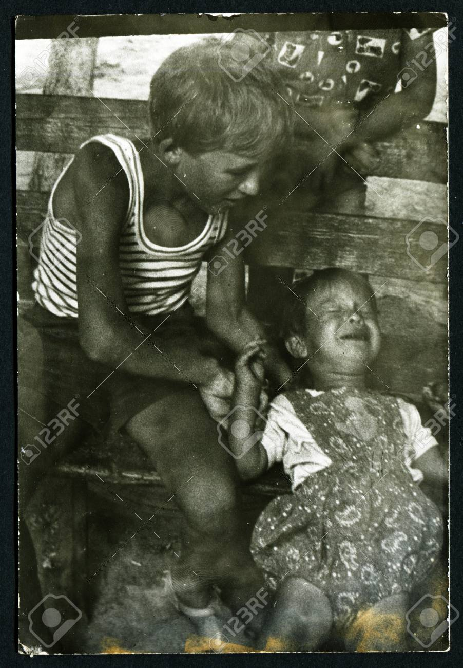 Stock photo ussr circa 1960s an antique black white photo shows children