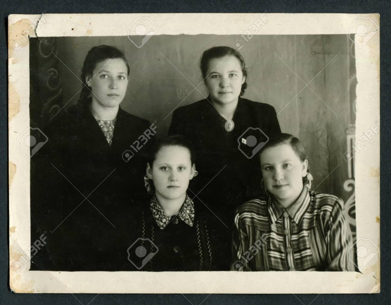 Stock photo ussr circa 1960s an antique black white photo show family portrait