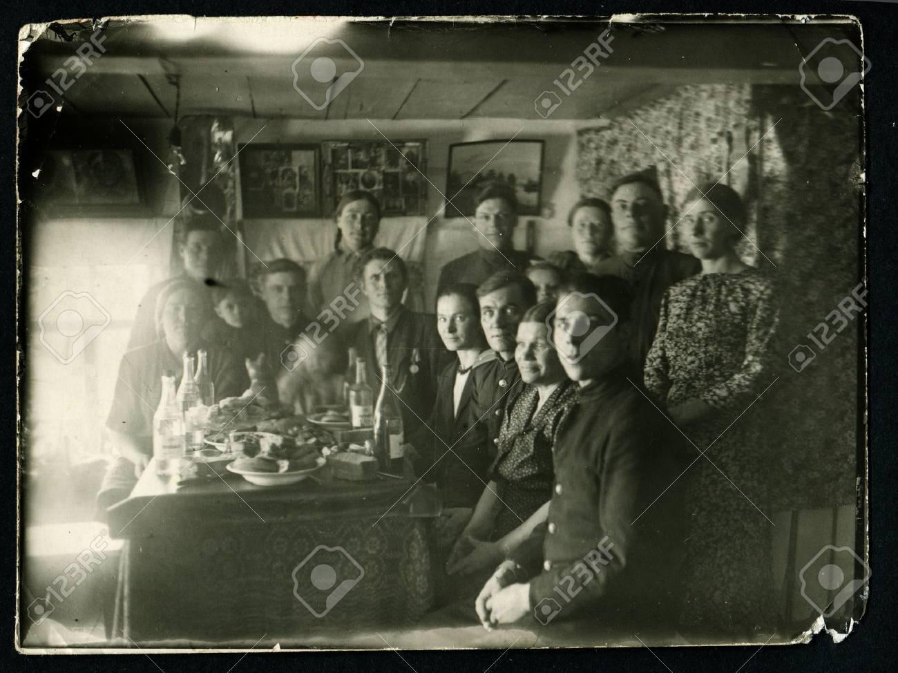 Stock photo ussr circa 1960s an antique black white photo show festive feast