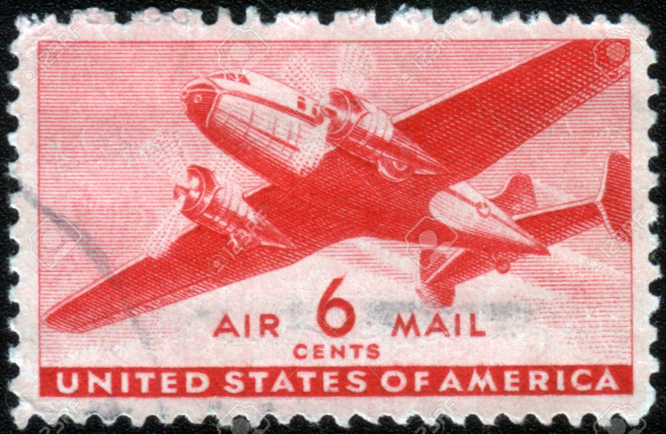 1943 United States Postage Stamp In The Value Of 6 Cents Used For Overseas Air Mail Deliveries Showing A Vintage Transport Plane Mid And Print