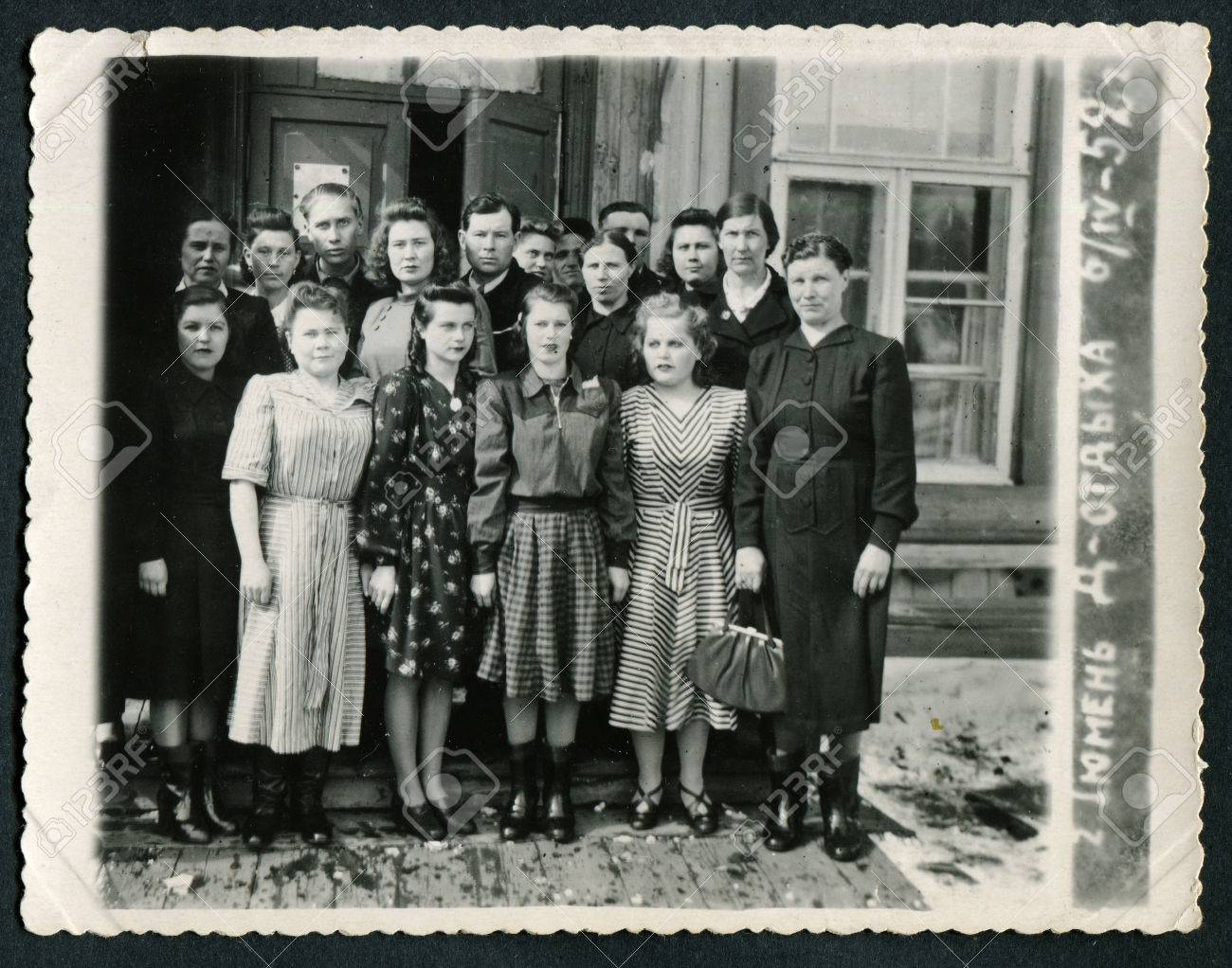 Ussr circa 1950s an antique black white photo show group travelers caption