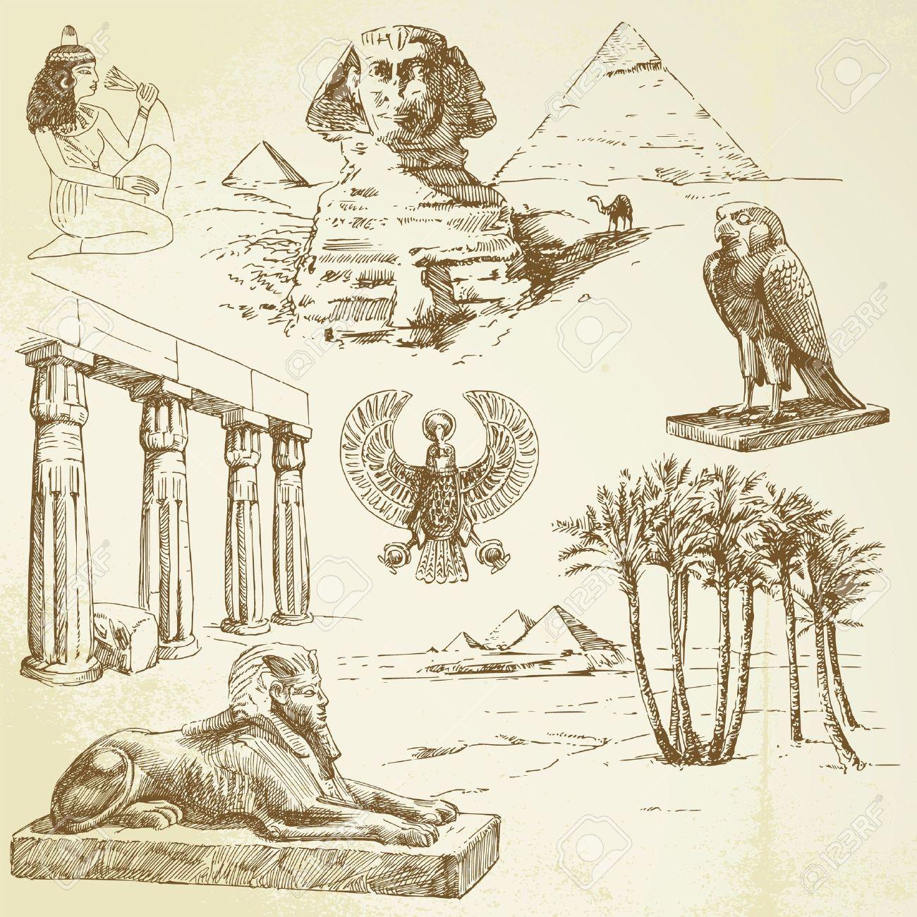 egypte dessin l Egypte ancienne dessiné  la main ensemble