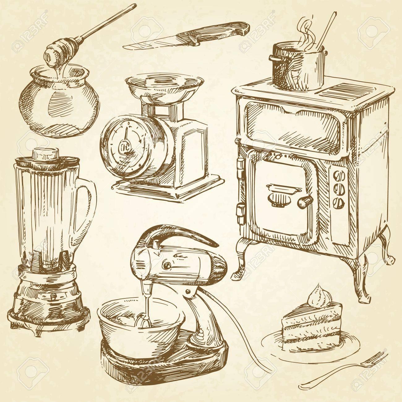 Vintage Kitchen Utensils Illustration vintage cookware, kitchen utensil - hand drawn set royalty free