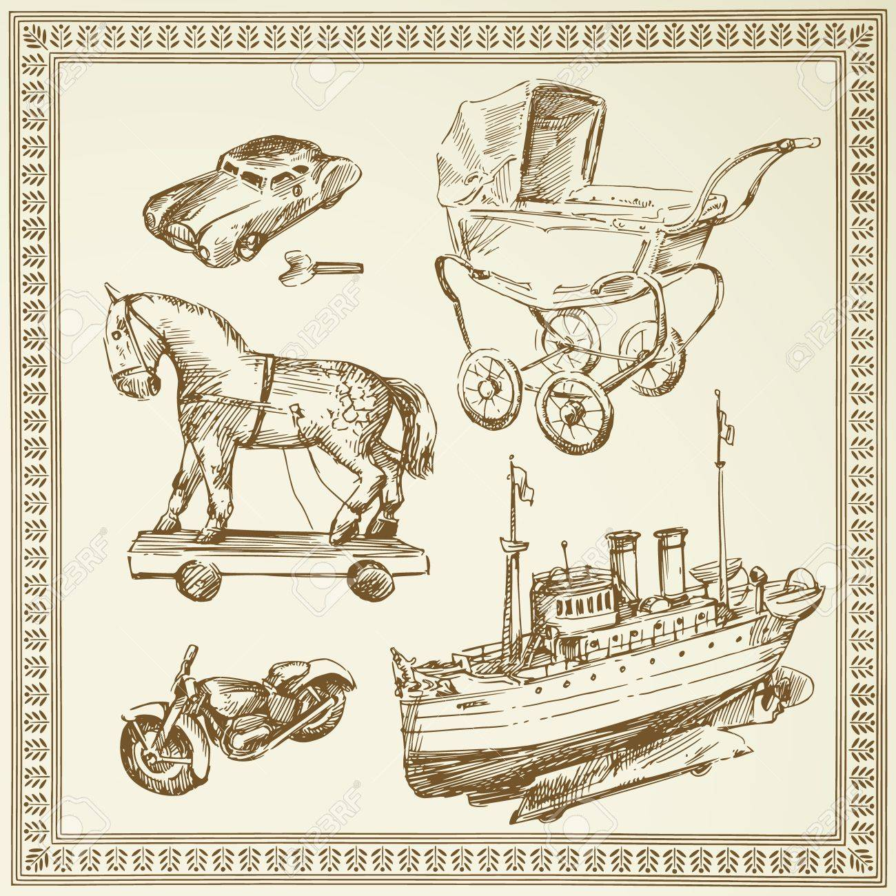 antique toys Stock Vector - 13378075