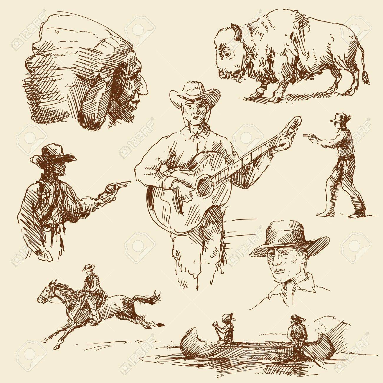 wild west - hand drawn collection Stock Vector - 13620799