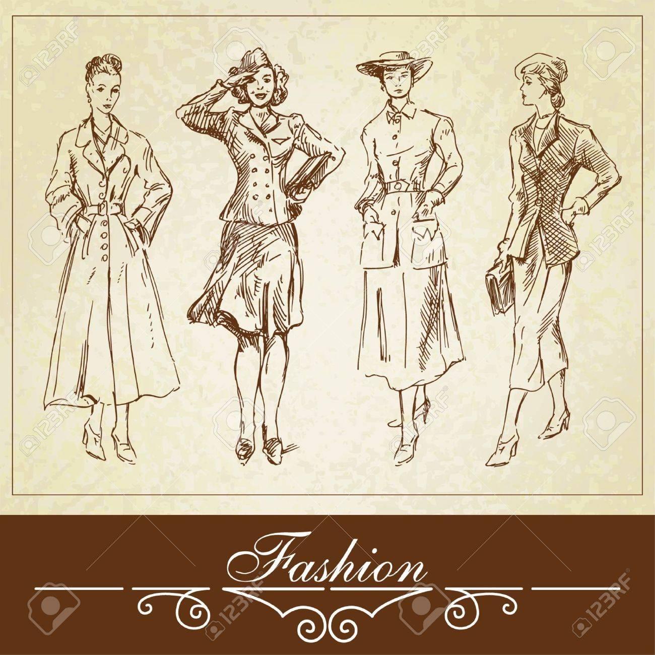 vintage fashion-hand drawn set Stock Vector - 13828944