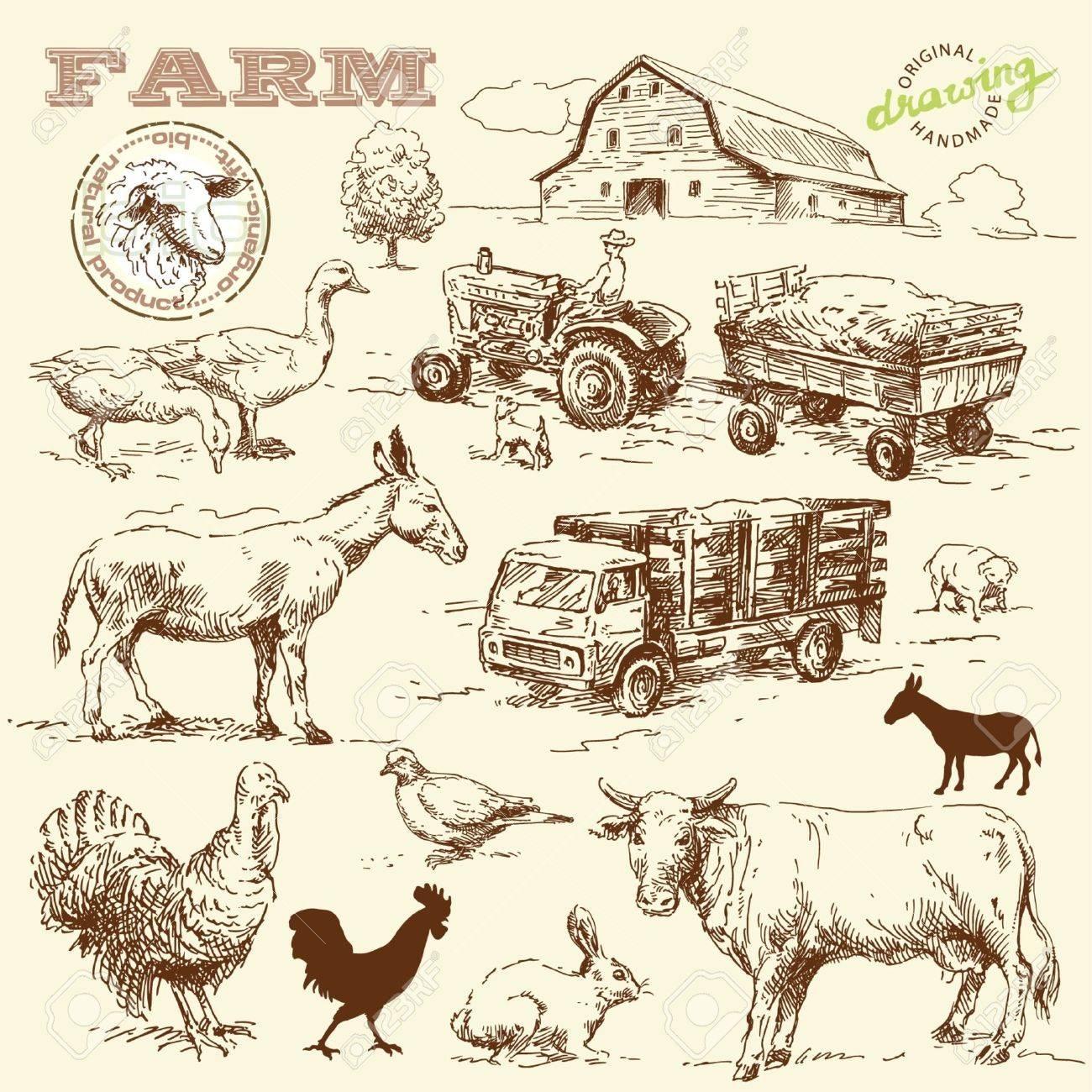 Farm Barn Drawing farm collection-handmade drawing royalty free cliparts, vectors