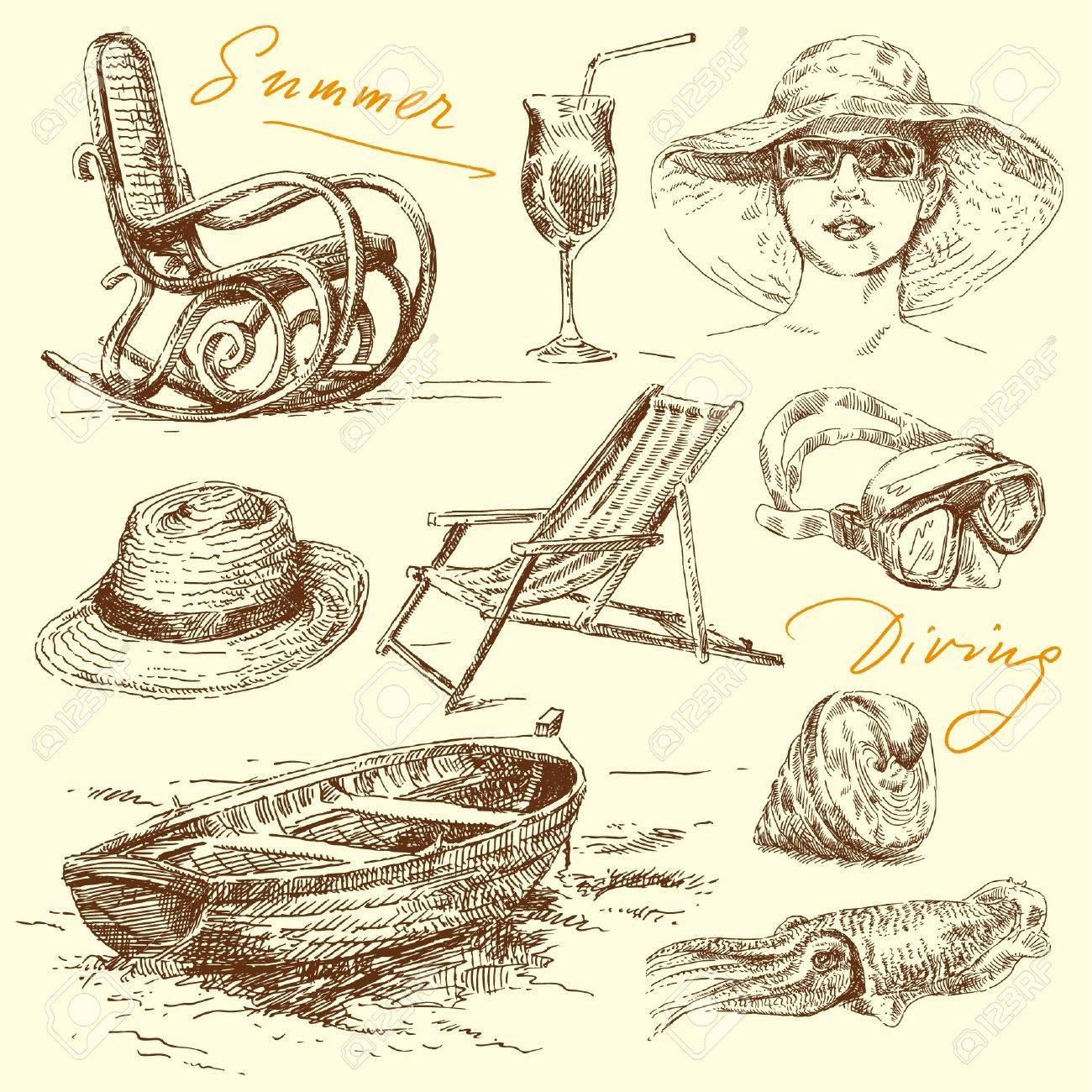 Beach chair and umbrella sketch - Beach Chair Summer Holiday Original Hand Drawn Set