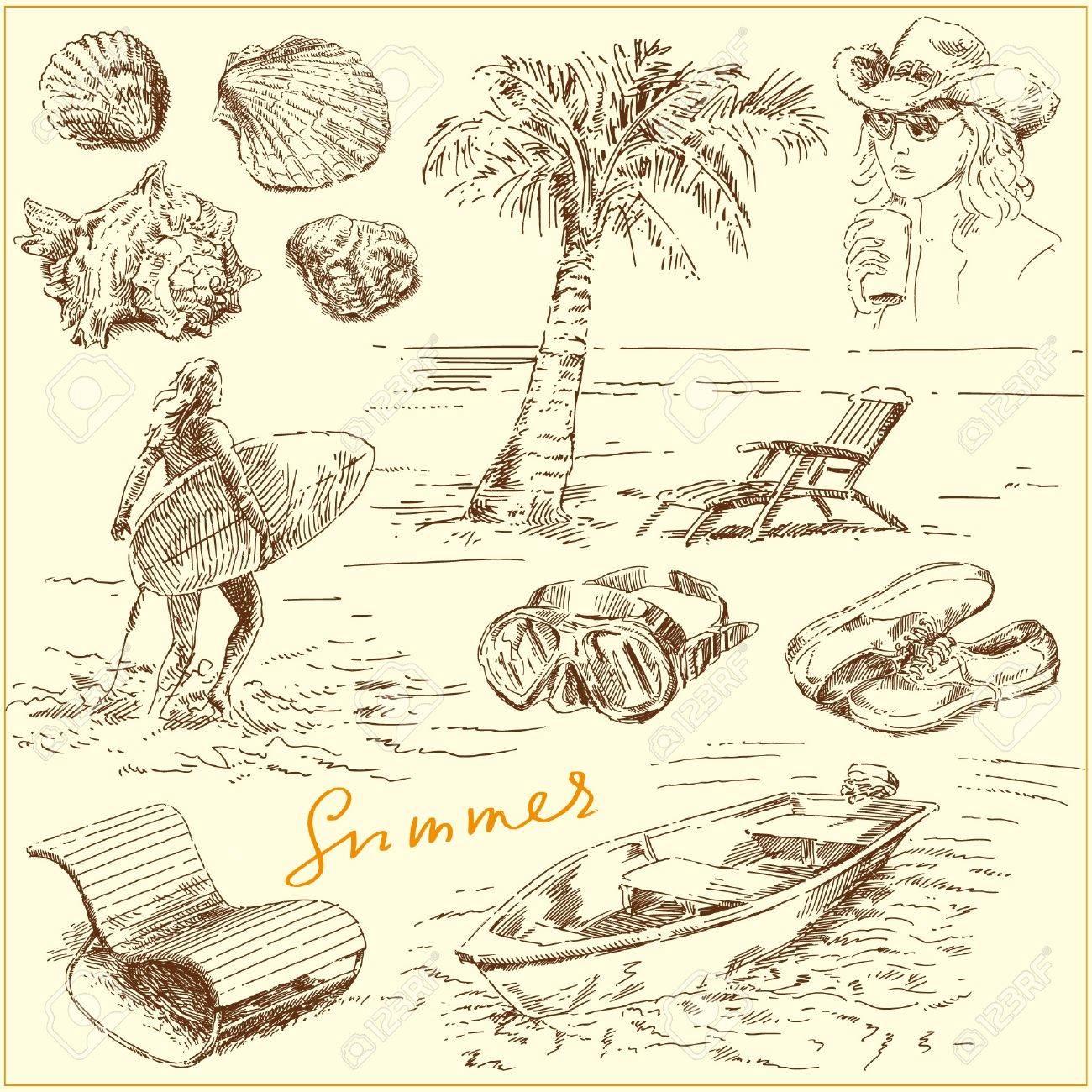 summer set - original hand drawn illustration Stock Vector - 13962176