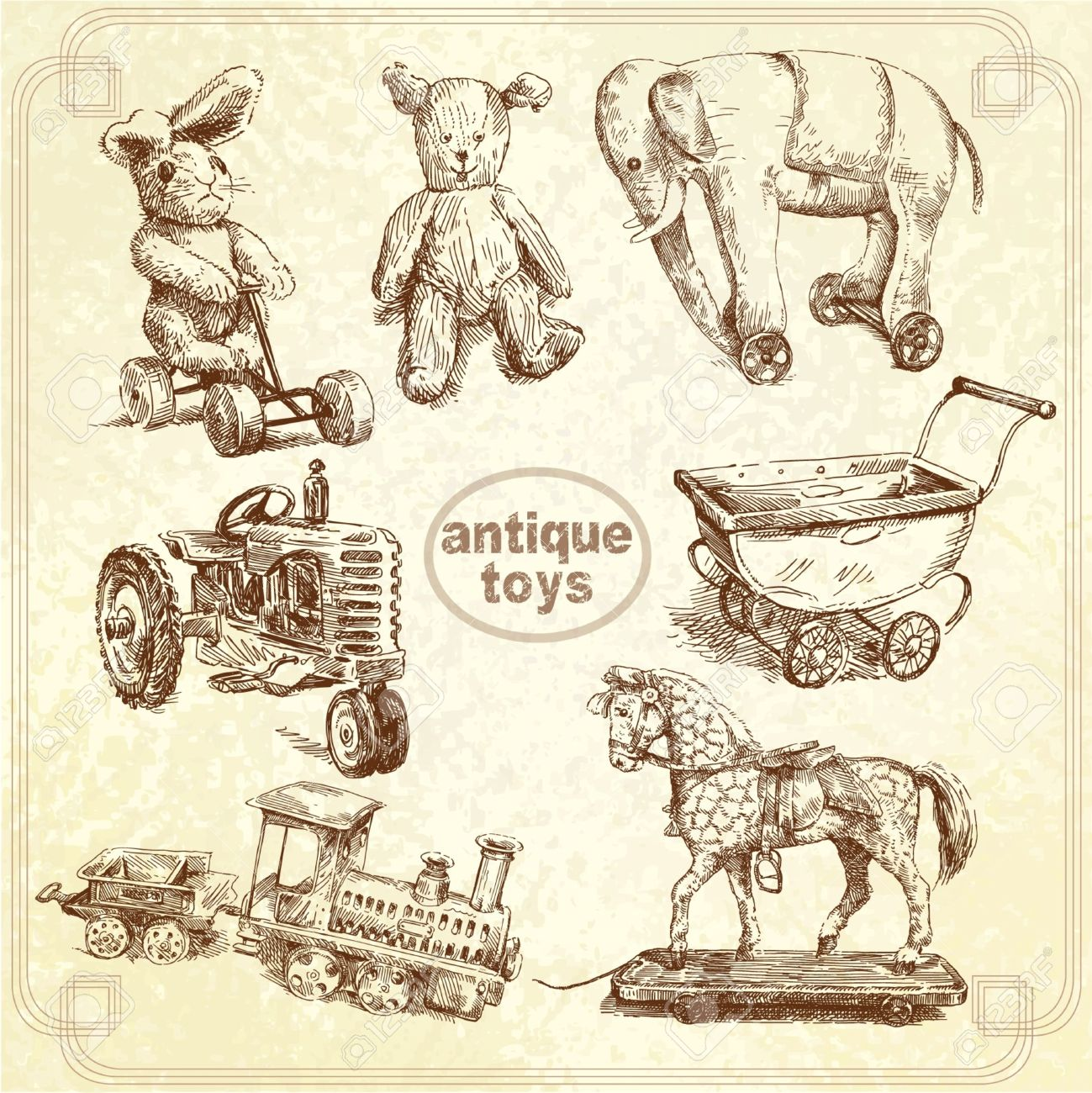 antique toys - hand drawn collection Stock Vector - 14016698