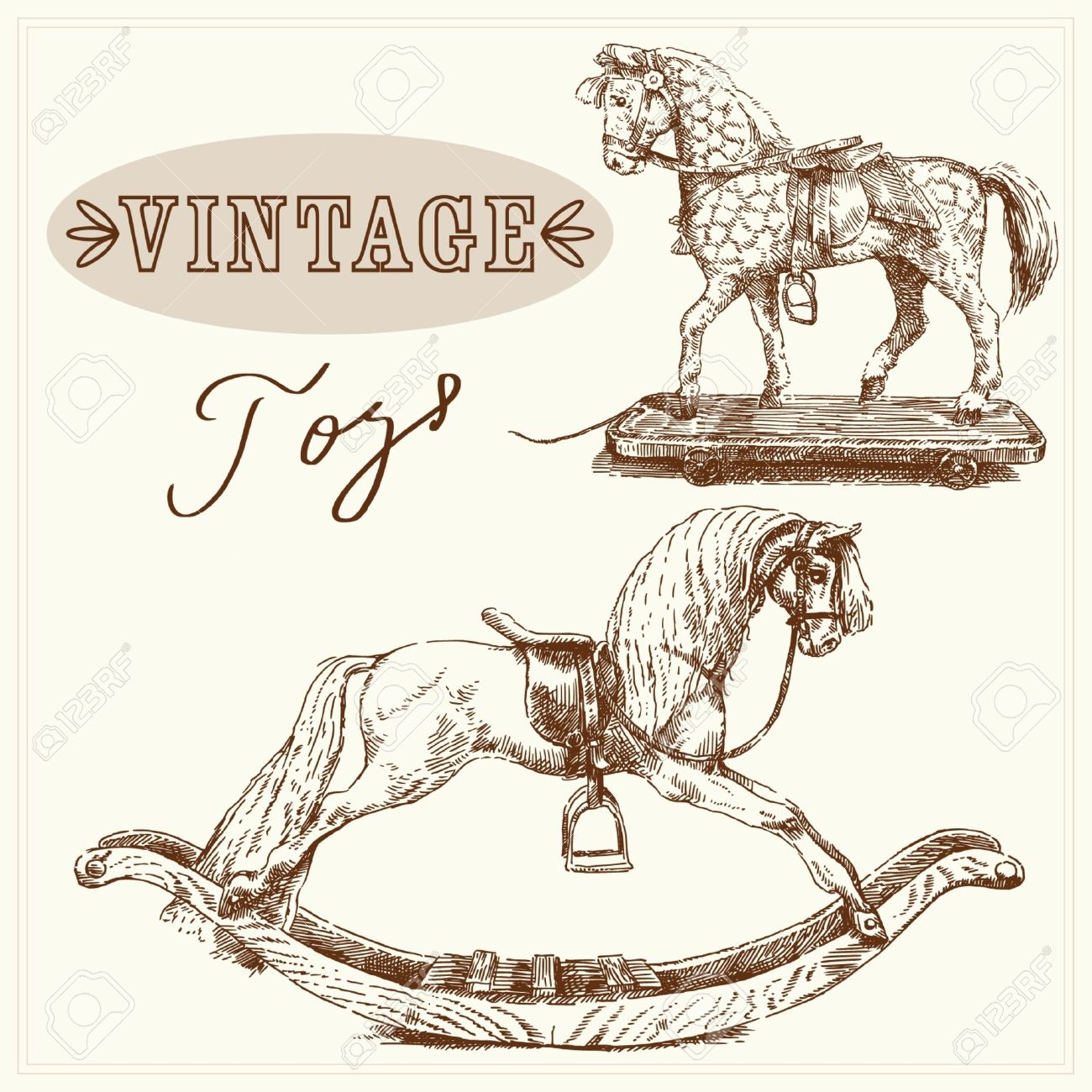 Rocking Horse Hand Drawn Vintage Toys Royalty Free Cliparts Vectors And Stock Illustration Image 14016657