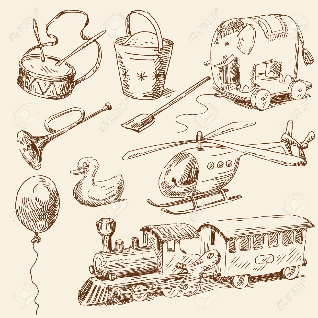 hand drawn toys collection - 14097765