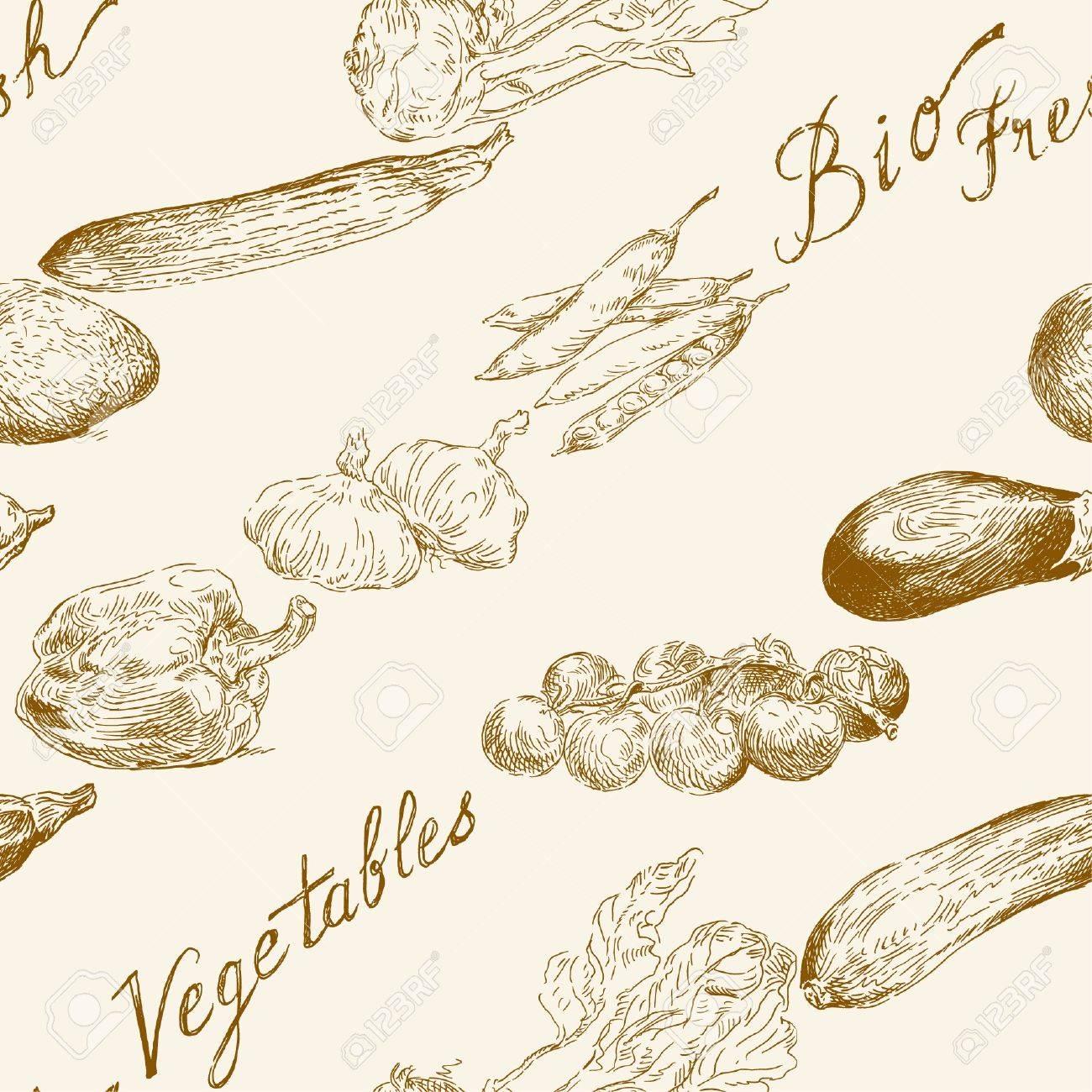 seamless vegetables pattern Stock Vector - 14097852
