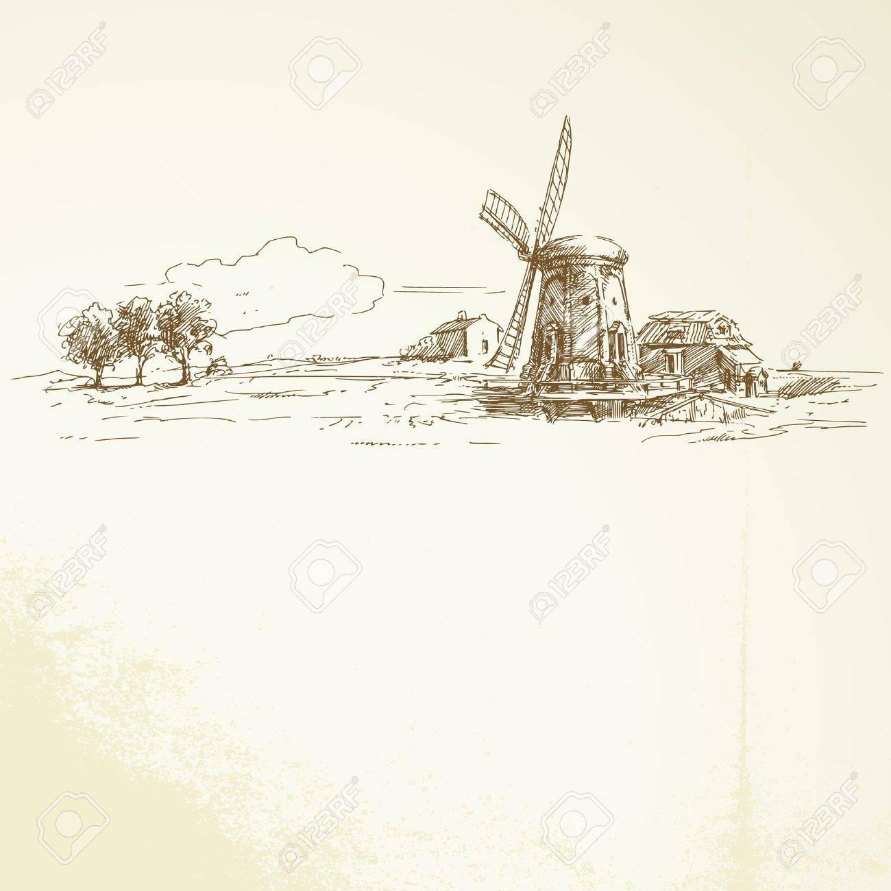 holland windmill - hand drawn illustration Stock Vector - 14234284