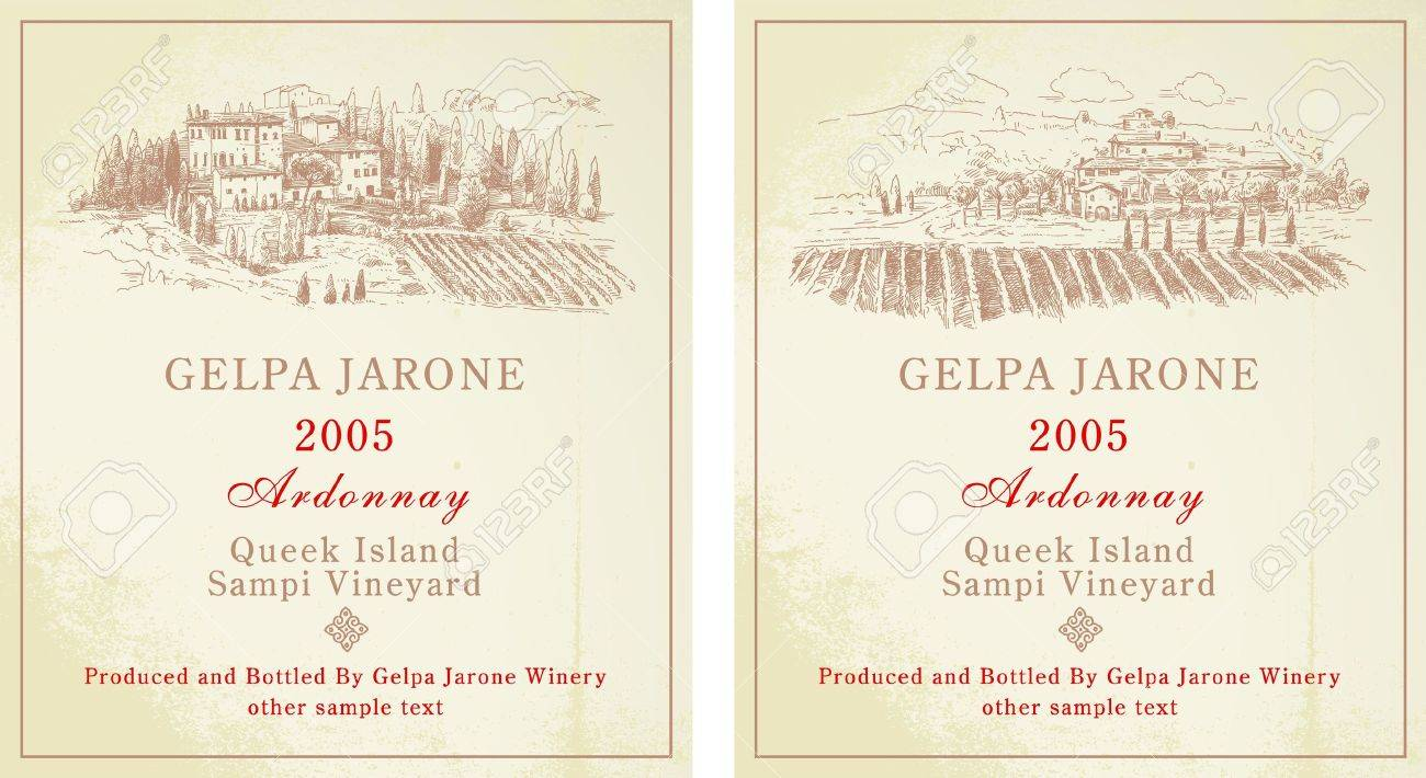 Wine Labels - Hand Drawn Collection Royalty Free Cliparts, Vectors ...