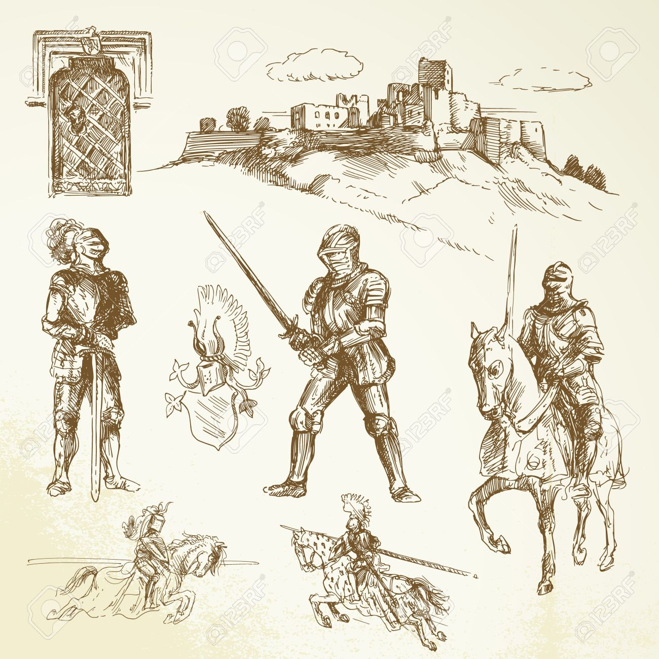 medieval knights - hand drawn collection - 14625397