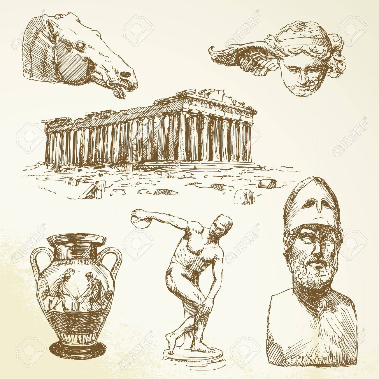 ancient greece - hand drawn collection Stock Vector - 14968910