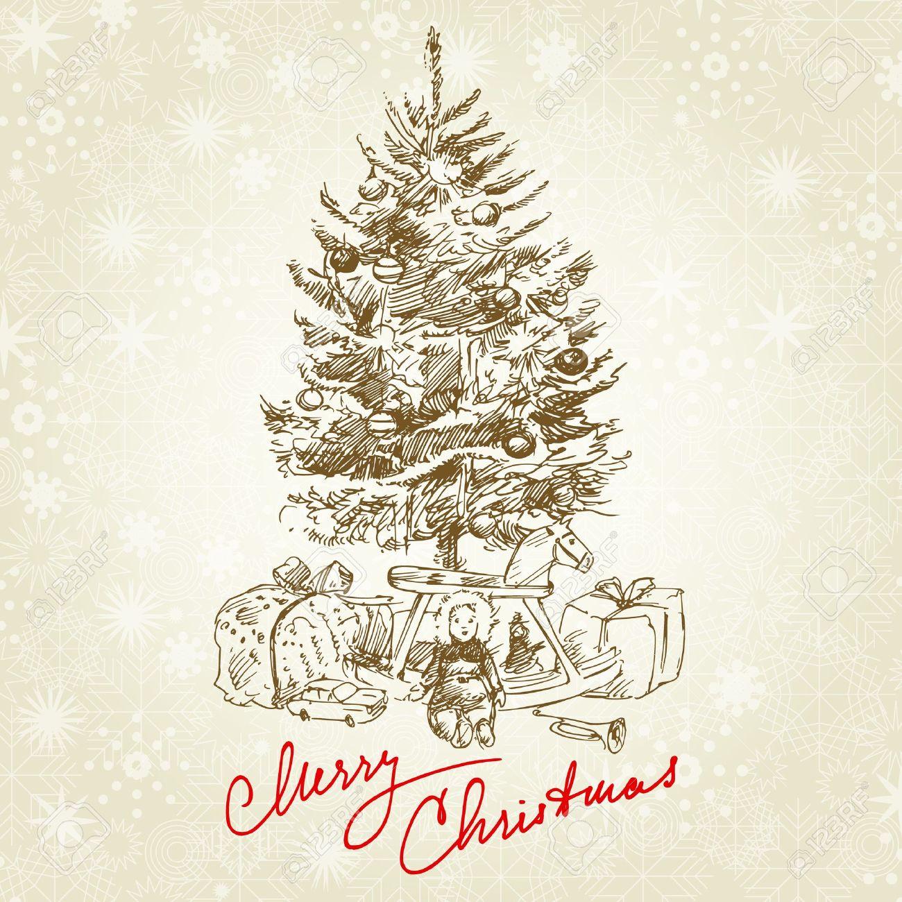 hand drawn vintage christmas tree stock vector 14968907 - Vintage Christmas Trees