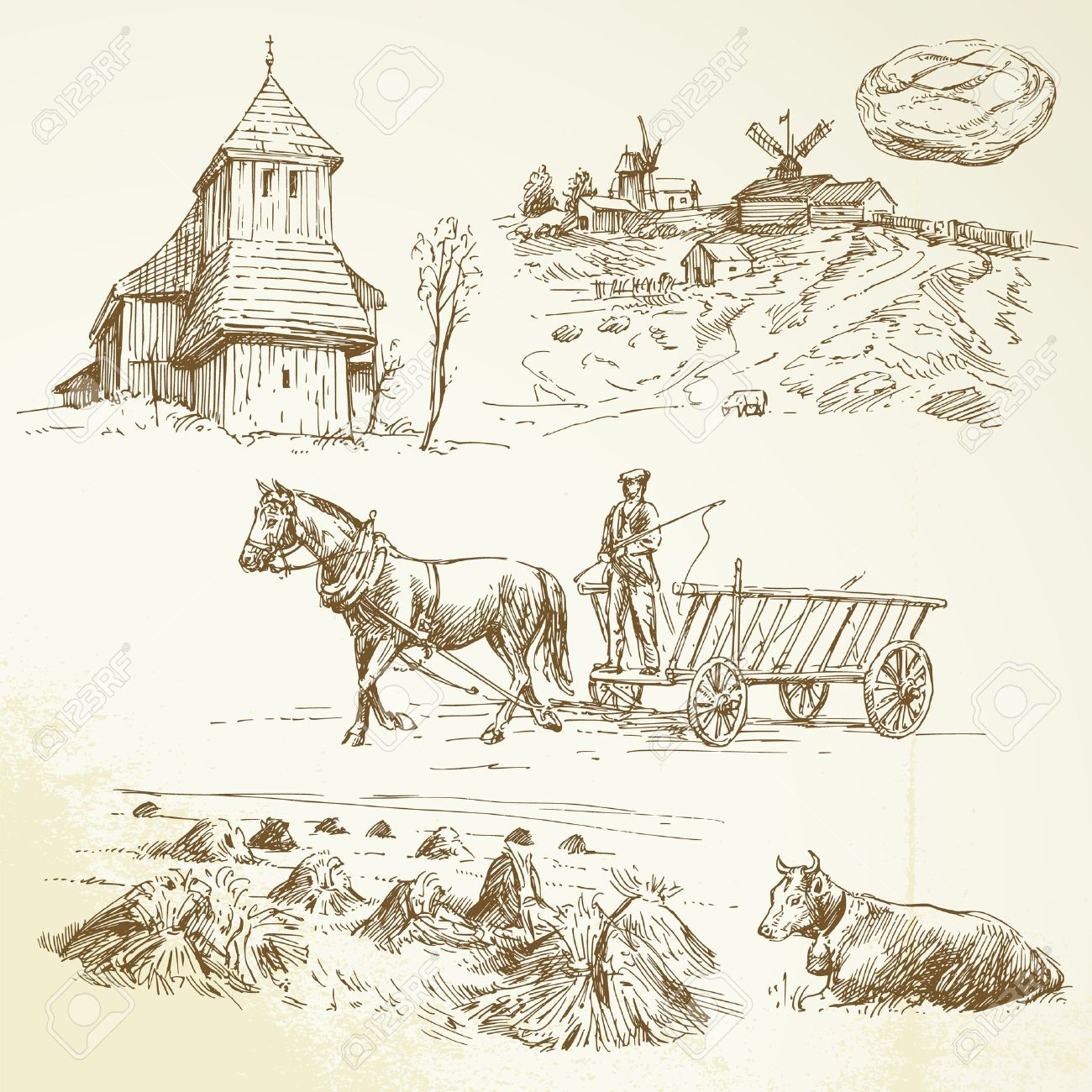 rural landscape, farming, haying - hand drawn collection Stock Vector - 16448528