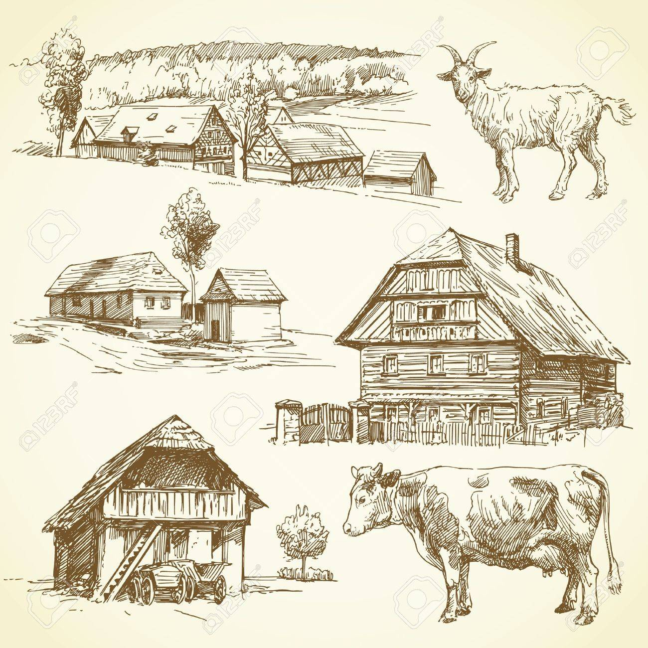 rural landscape, agriculture - hand drawn collection Stock Vector - 17518600