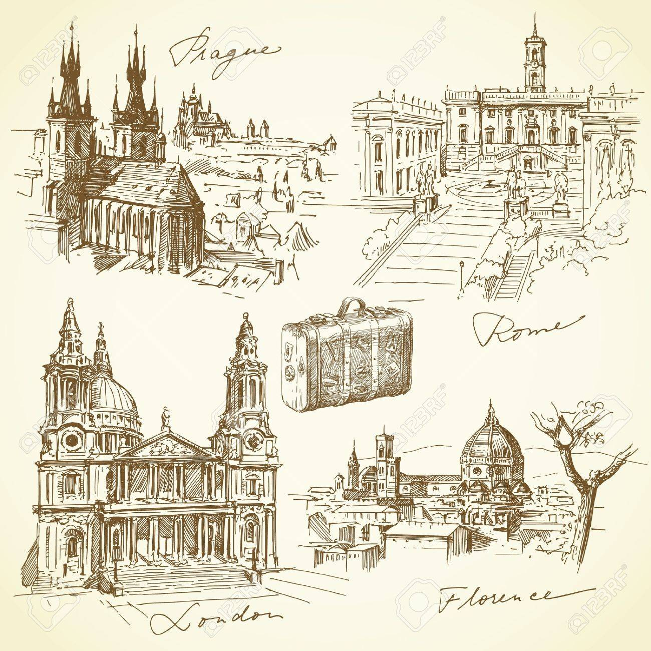 travel over the europe - hand drawn collection Stock Vector - 17518601