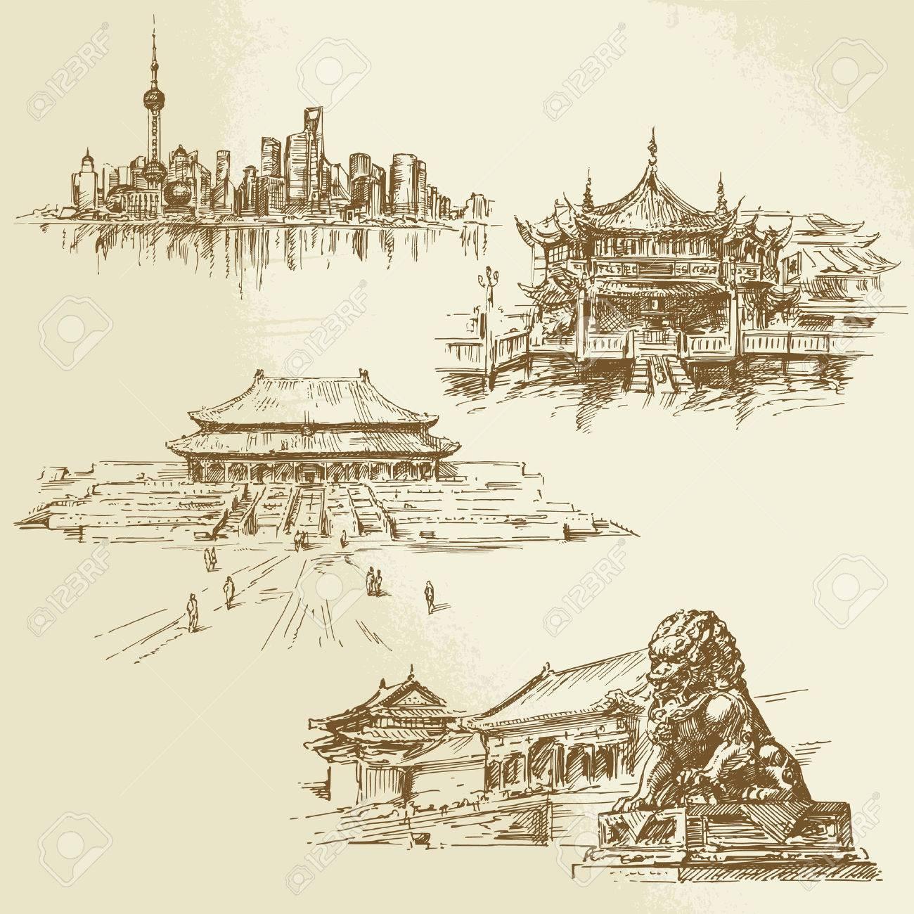 Shanghai - chinesische Erbe - Hand gezeichnet Set Standard-Bild - 24058162