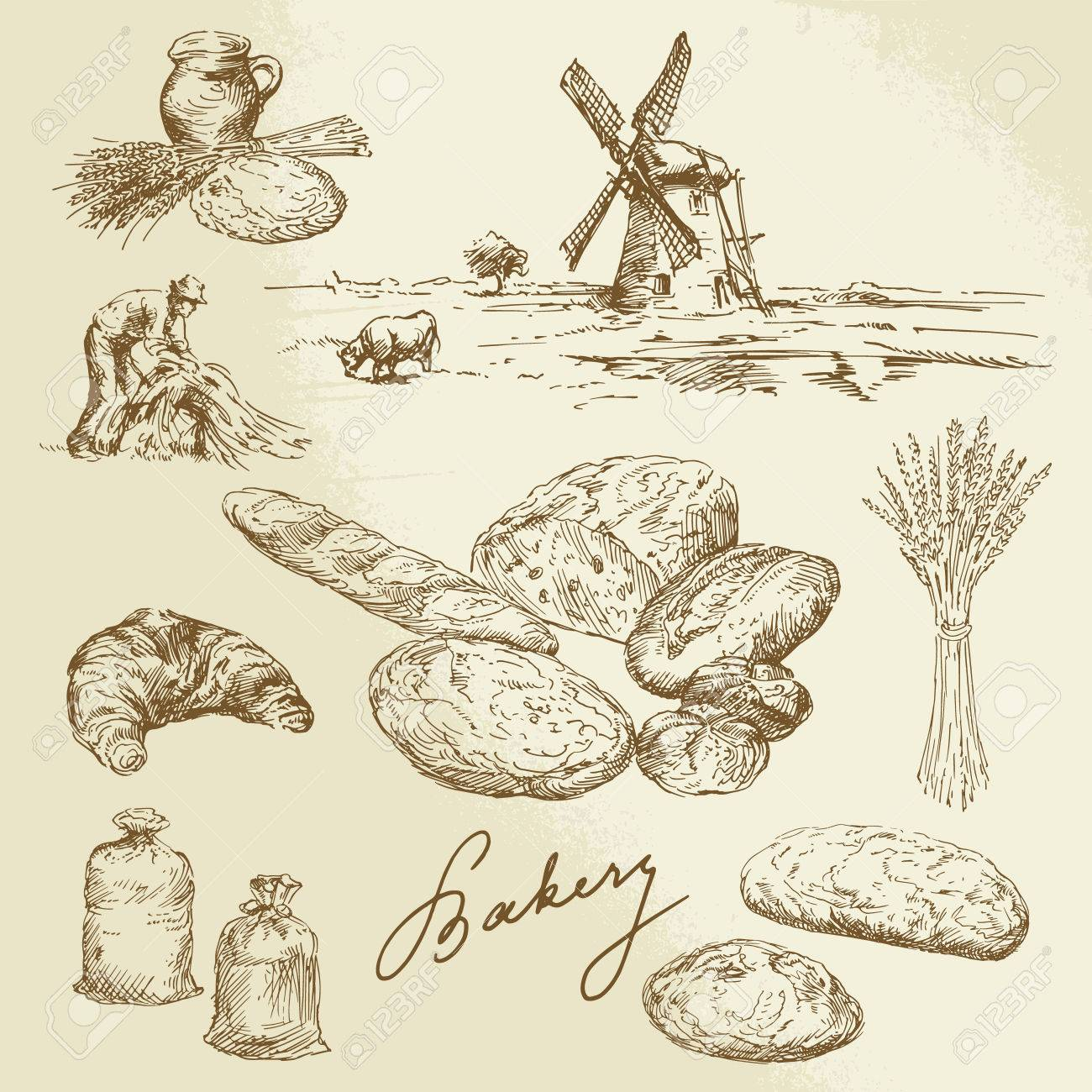 bakery, rural landscape, bread - hand drawn set - 24058163