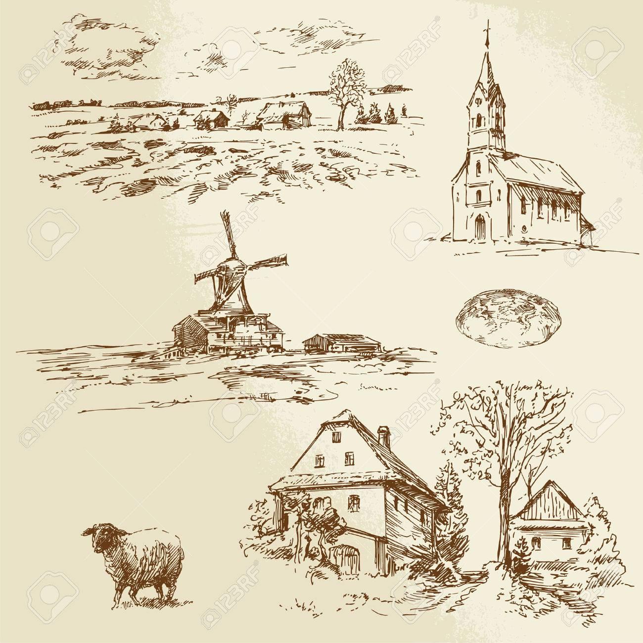 ländliche Landschaft, Hof - Hand gezeichnete Illustration Standard-Bild - 25307610