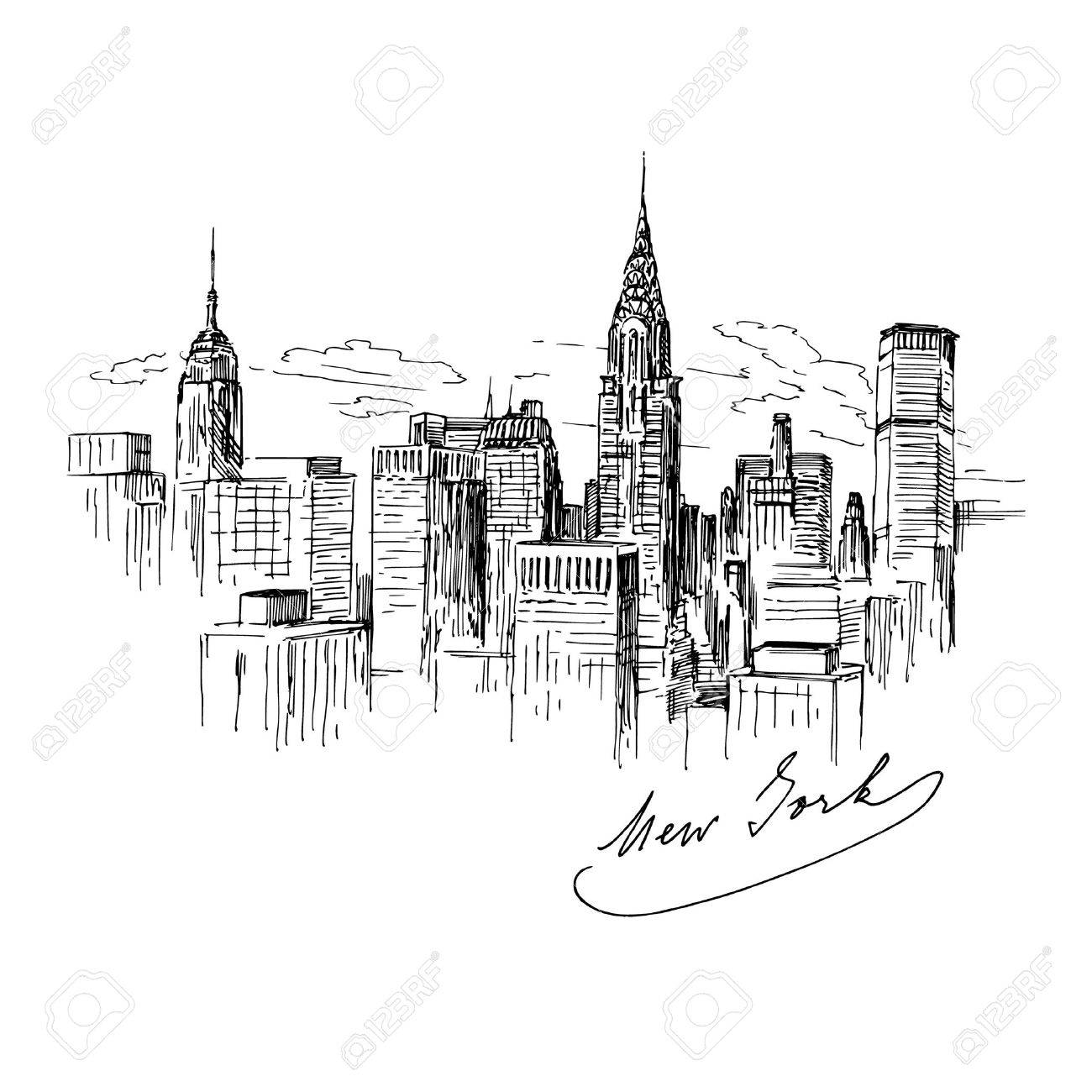 New York - Hand gezeichnete Illustration Standard-Bild - 25307906
