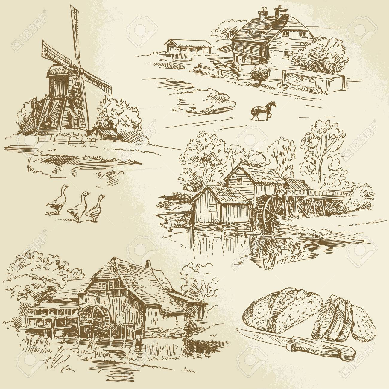 hand drawn collection - windmill and watermill - 26590665