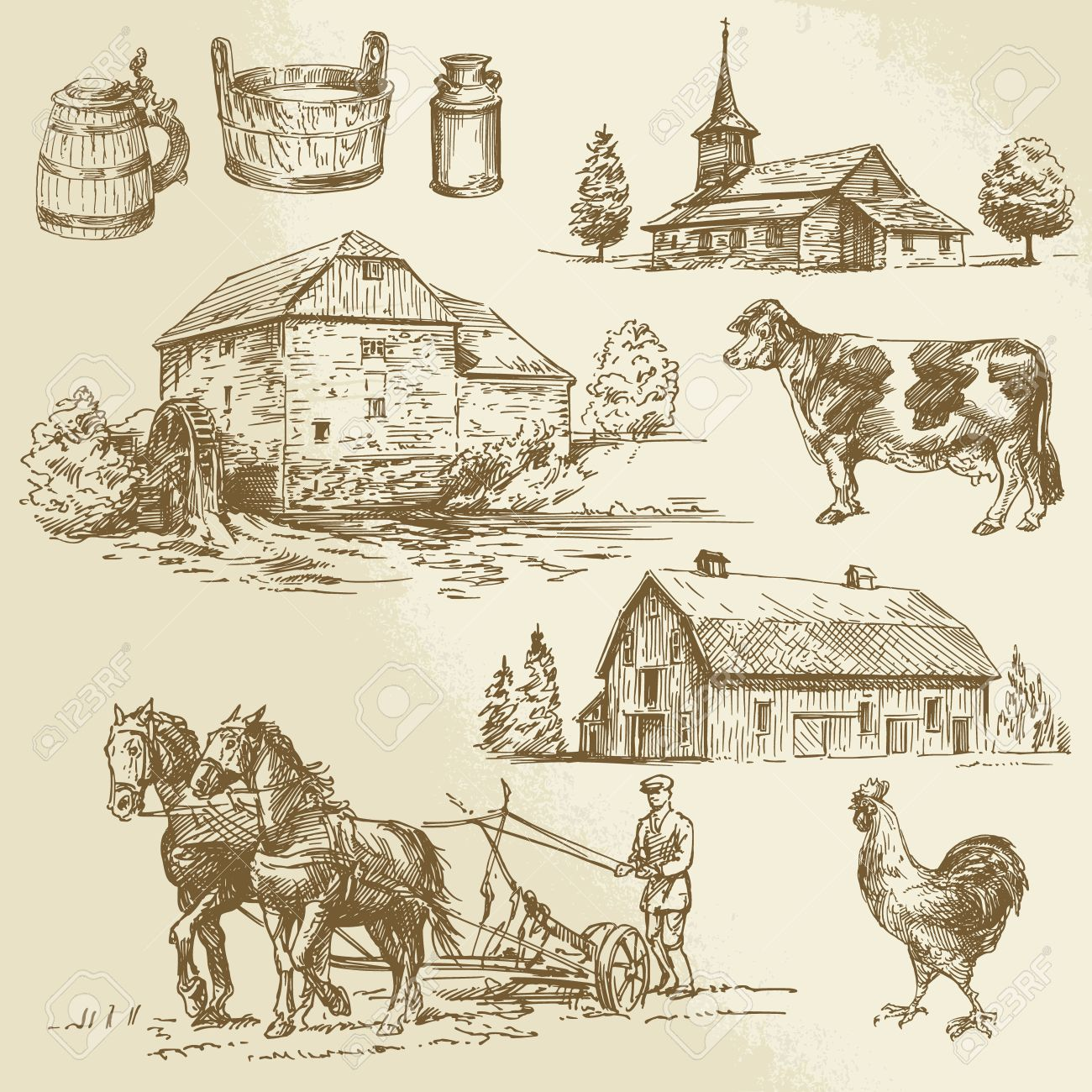 rural landscape, farm, hand drawn watermill Standard-Bild - 26590668