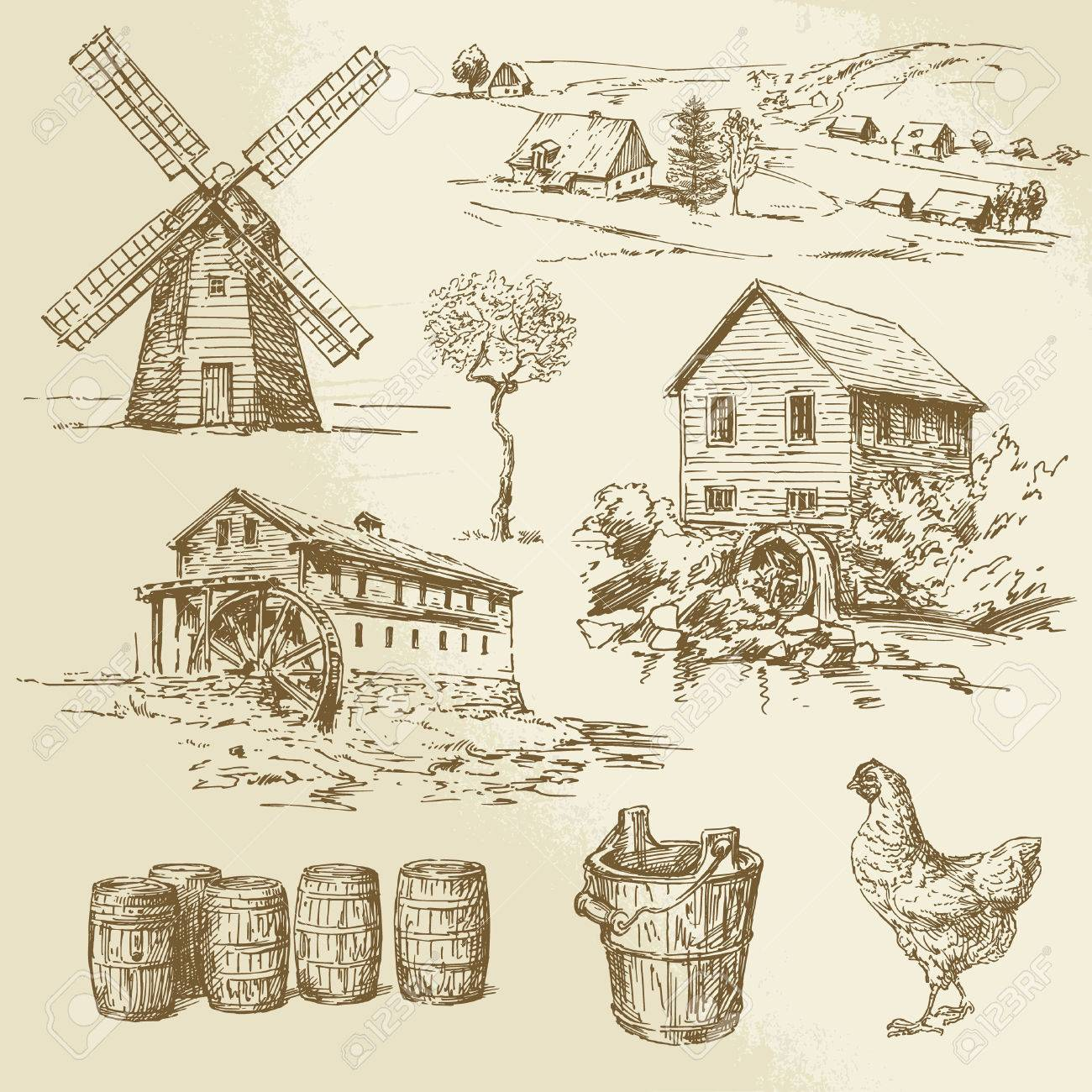 Watermill and windmill - hand drawn collection Standard-Bild - 26590670