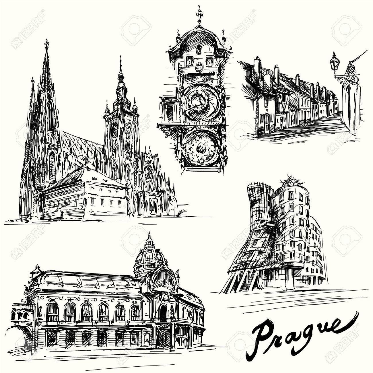 prague - hand drawn illustration Standard-Bild - 31367180