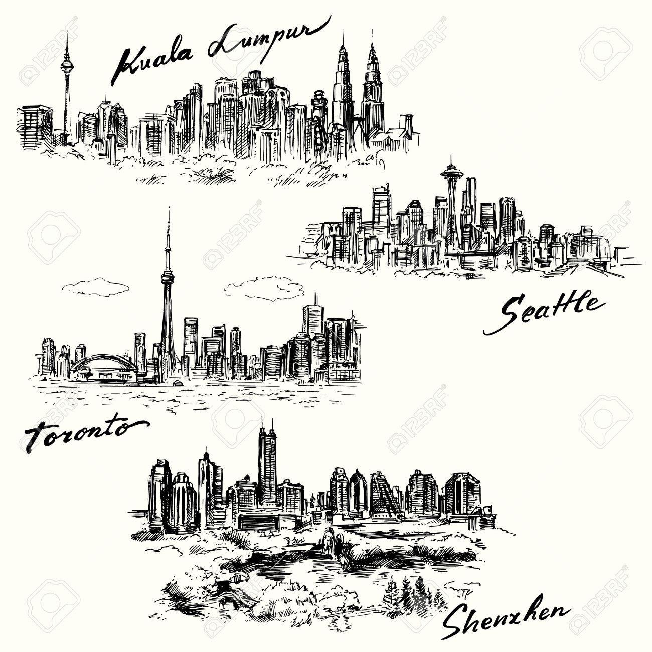 Toronto, Seattle, Kuala Lumpur, Shenzhen Standard-Bild - 31367189