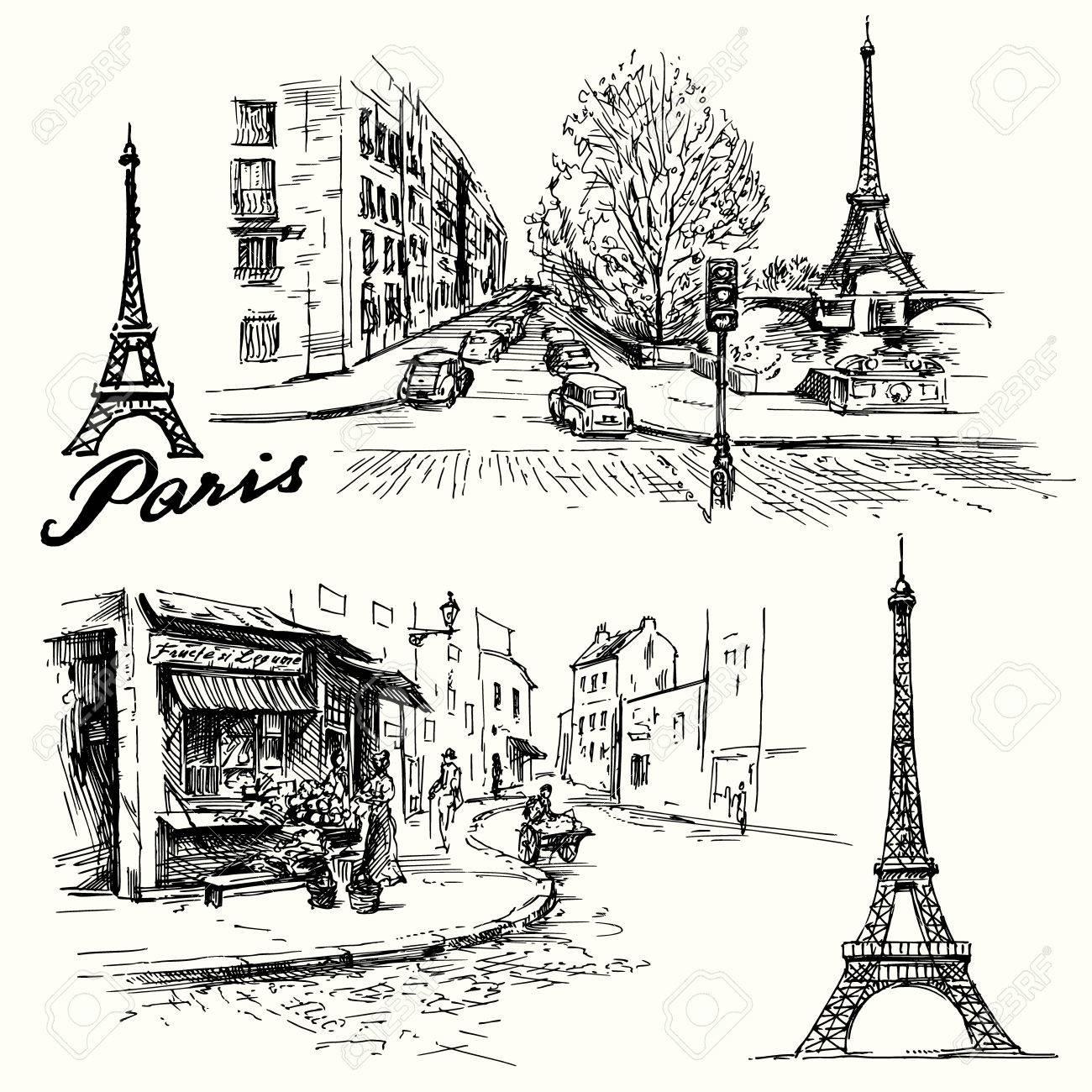 Frankreich, Paris - Eiffelturm - Hand gezeichnet Set Standard-Bild - 32859268