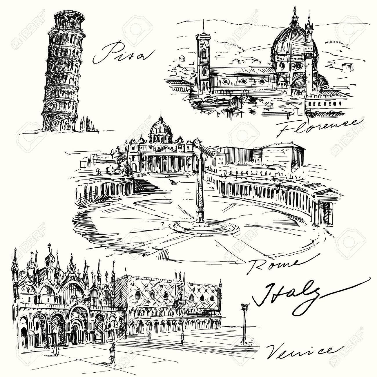Italien - Hand gezeichnete Sammlung Standard-Bild - 33809126
