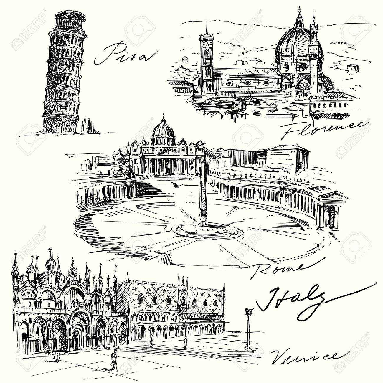 Italy - hand drawn collection Standard-Bild - 33809126