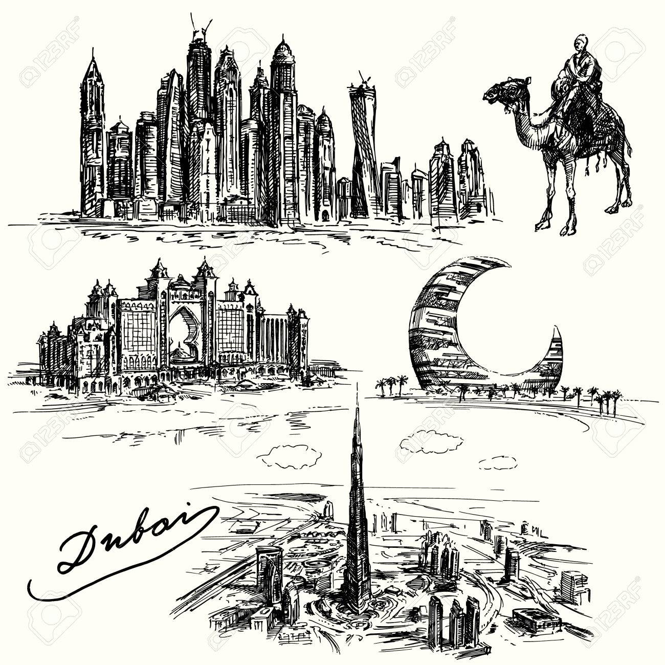 Dubai - hand drawn collection Standard-Bild - 33837620