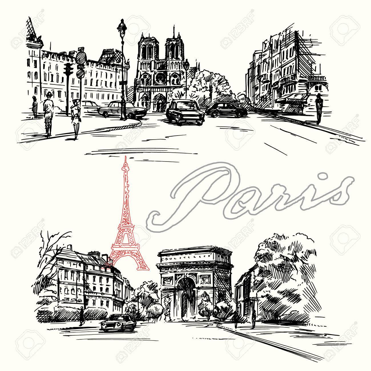 Paris - hand drawn set - 35717837