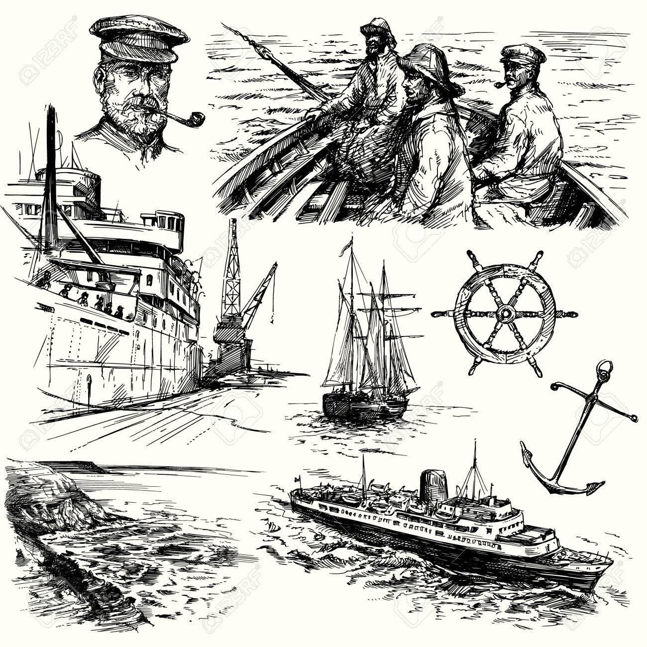nautical elements - hand drawn collection Standard-Bild - 36853183