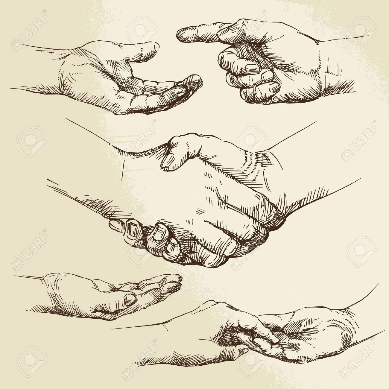 handshake - hand drawn collection Standard-Bild - 36853184