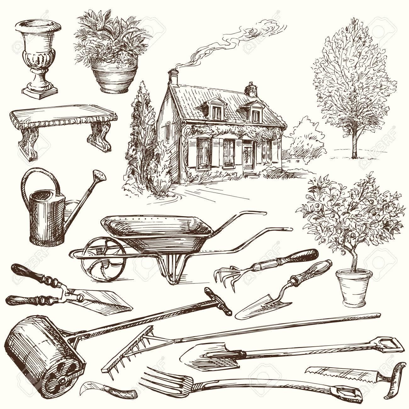 gardening, garden tools - hand drawn collection Standard-Bild - 36853309