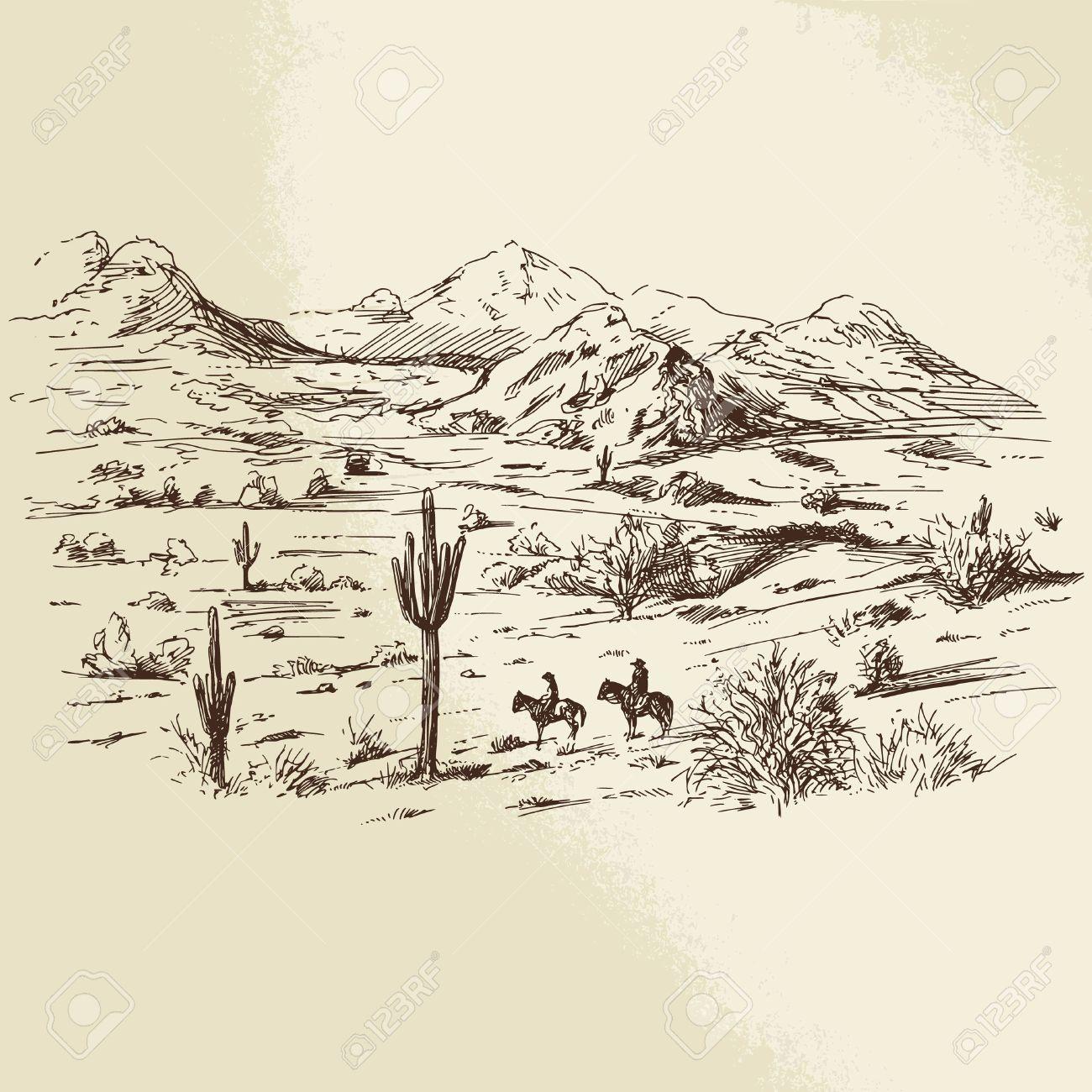 Wild-West - Hand gezeichnete Illustration Standard-Bild - 36853312