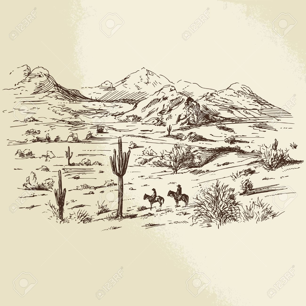 wild west - hand drawn illustration Standard-Bild - 36853312
