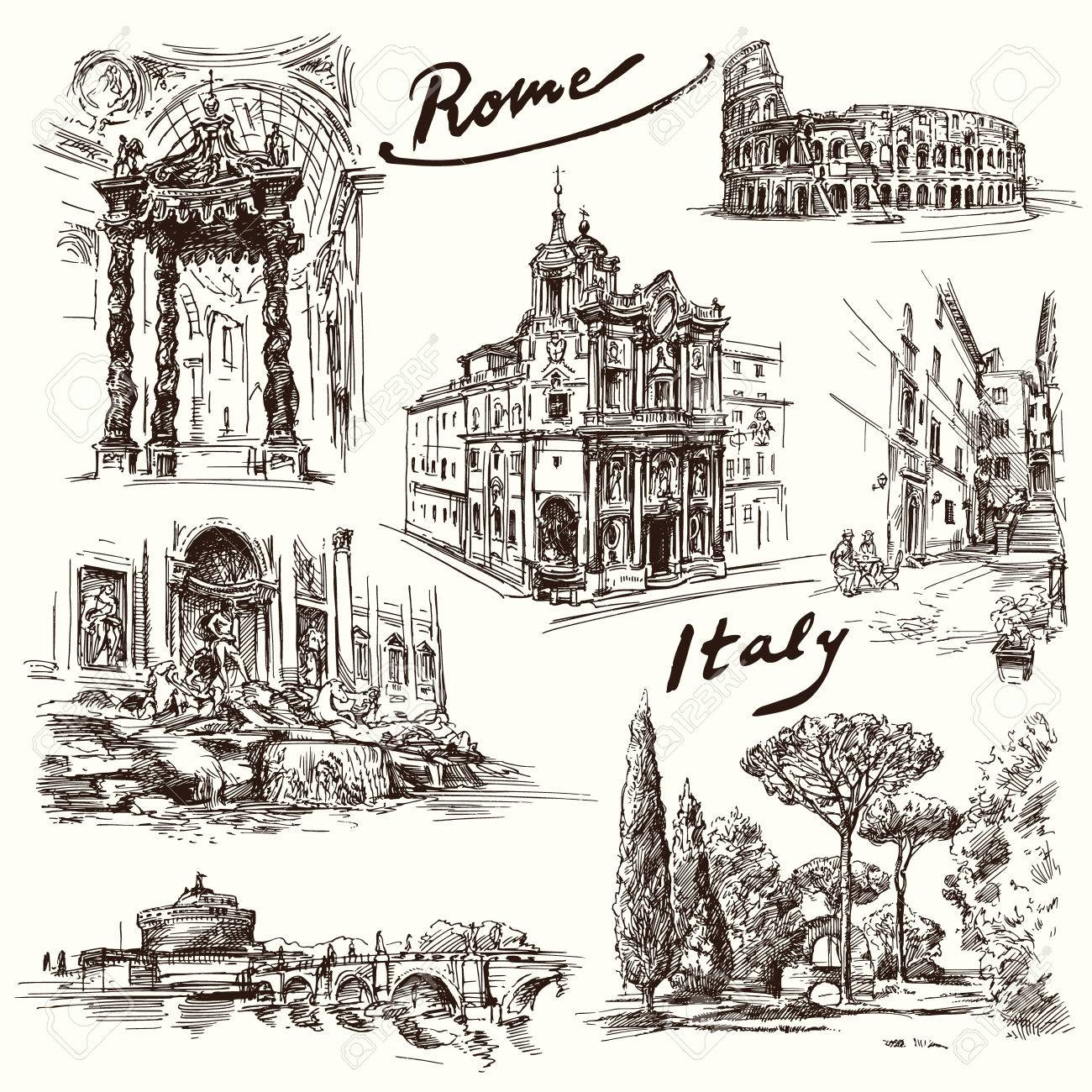 Rome - hand drawn collection - 37679137