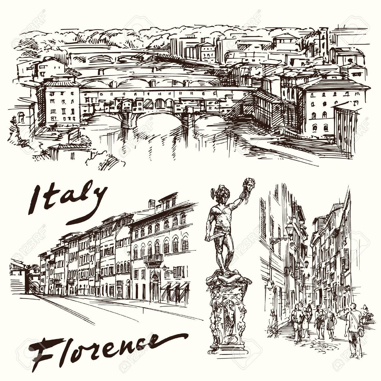 Florence, Italy - hand drawn set - 37679139