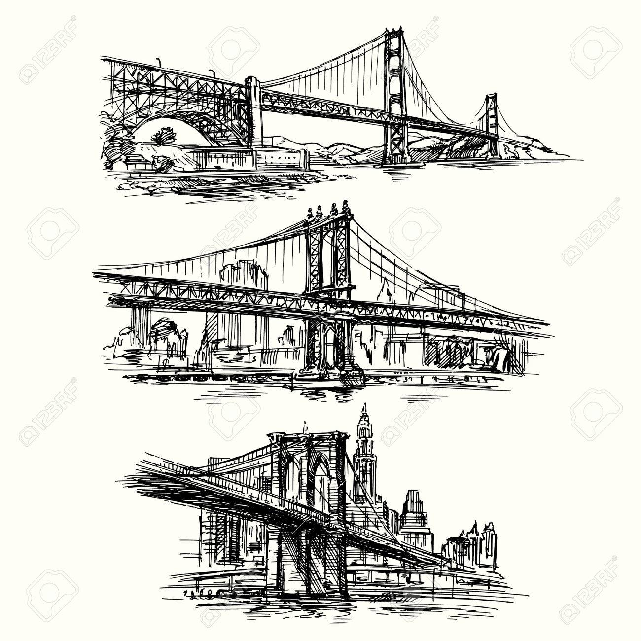 famous bridges - hand drawn set Standard-Bild - 37679143