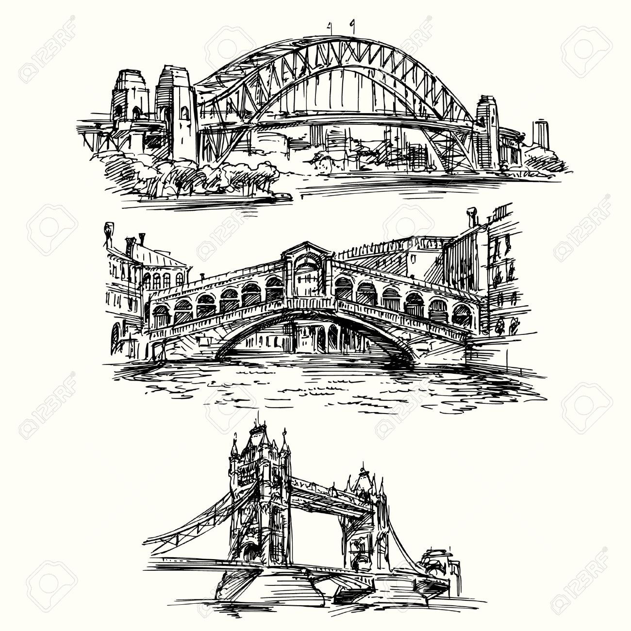 famous bridges - hand drawn set Standard-Bild - 37679145
