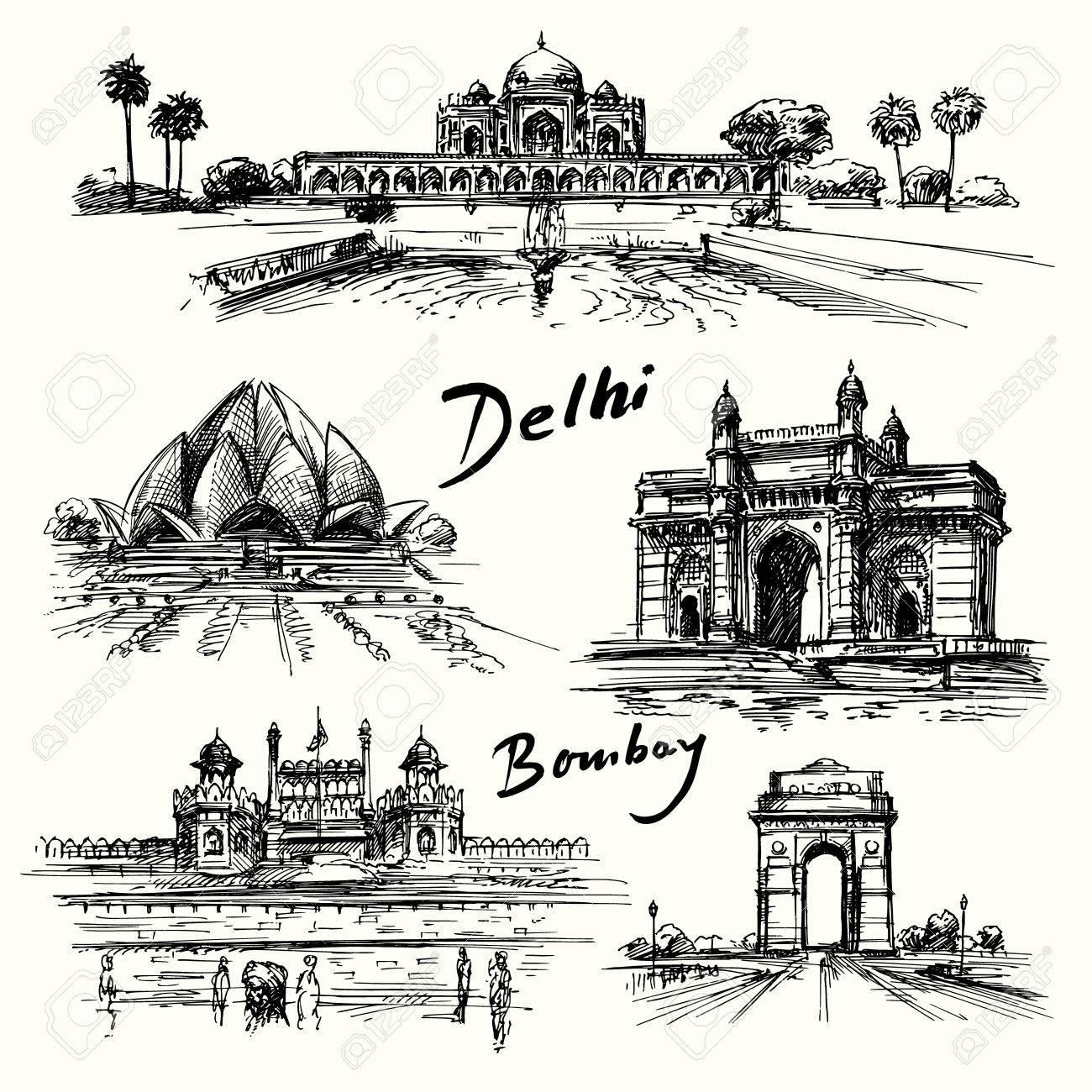 Delhi, Bombay - Hand gezeichnete Sammlung Standard-Bild - 37679223