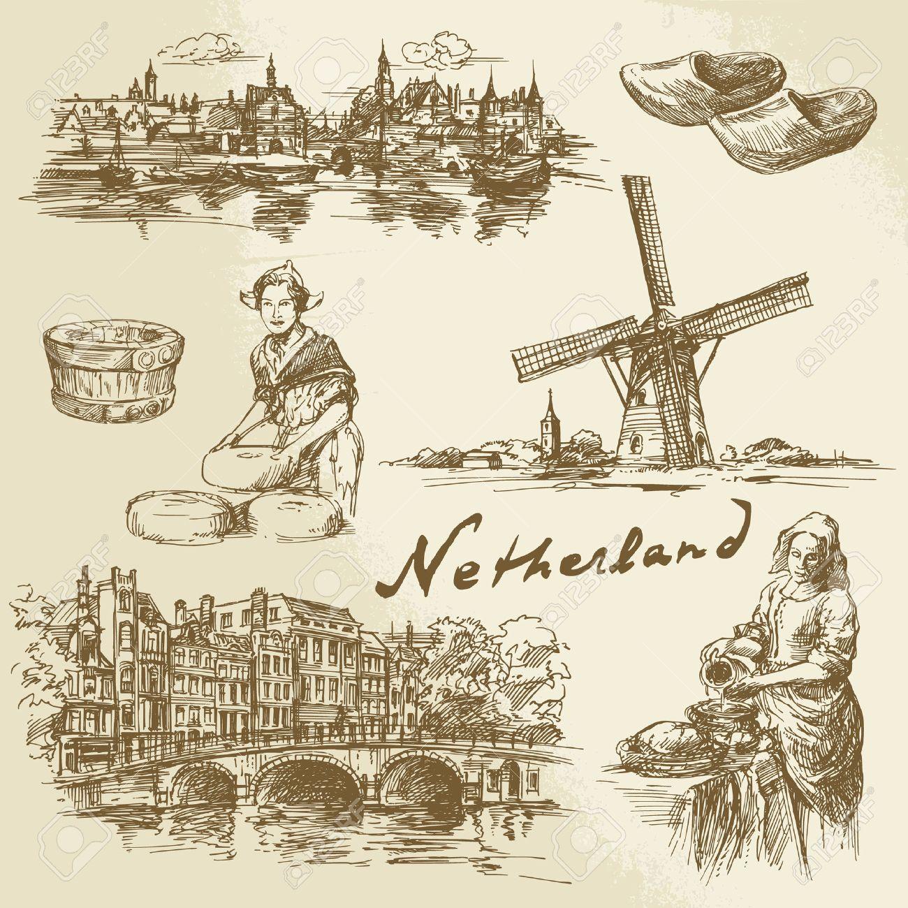 Netherlands - hand drawn set Standard-Bild - 38742580